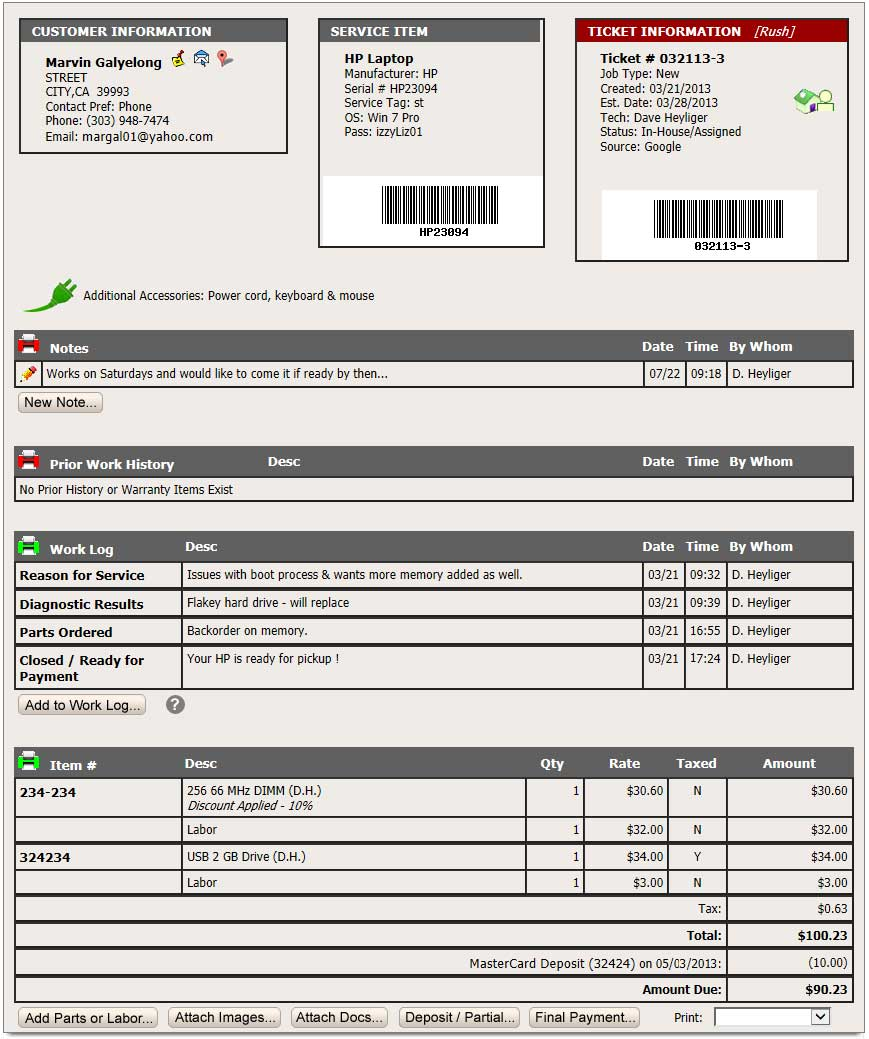 Repair shop software for Repair ticket template